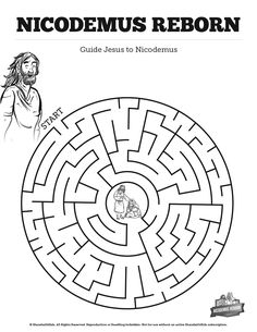 John 3 Nicodemus Bible Mazes: Your kids are going to love guiding Jesus to Nicodemus in this John 3 printable Bible maze. With stunning artwork and beautiful design this Nicodemus Bible activity page is just the thing for your upcoming Jesus and Nicodemus Sunday school lesson.