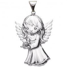 Sterling Sliver Diamond Angel Pendant
