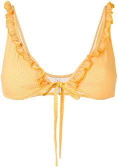 f99115f736df0 Solid   Striped Ruffle Trim Bikini Top - Farfetch
