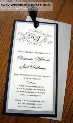 Emmaline Bags & Patterns: DIY Wedding Invitations! I made this using the templates at Weddingchicks.com, super easy.