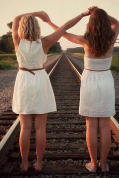 Best friend pictures infinity sign in the train tracks but um no not on the train tracks... Maybe with our feet in the creek? Or standing on a fallen tree? @Dani Johnson