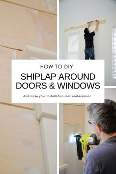 How to around doors and windows. Shiplap tips, shiplap DIY. Make your shiplap installation look professional. Home Renovation, Home Remodeling, Farmhouse Renovation, Installing Shiplap, Faux Shiplap, Shiplap Diy, Shiplap Fireplace, Ship Lap Walls, Do It Yourself Home