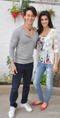 Tiger Shroff and his 'Heropanti' co-star Kriti Sanon at a theatre to catch a…