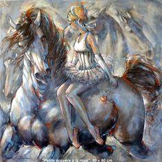 Oeuvres récentes - Art contemporain - Art équestre - Galerie de peintures à thème équestre - femmes et chevaux, Art cheval,Tableaux de cheval - Jeanne Saint Chéron