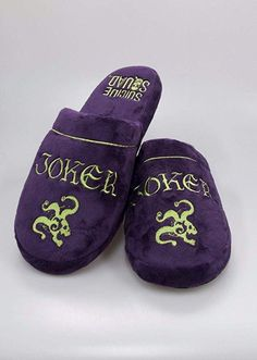 9c87dc80059c Joker Suicide Squad Slippers Uk Size (Purple Mens Mules Womens Non Slip)