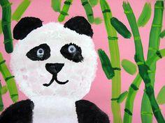 1st Grade: Panda Sponge Painting