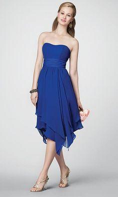 Alfred Angelo Hanky Hem Tea Length Bridesmaid Dress 7196 at frenchnovelty.com