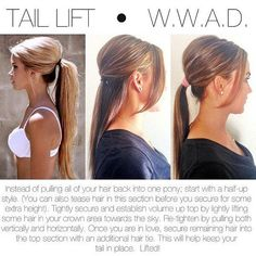 Get a little height on top, no hairspray required, by doing a half-up hairstyle first. | 27 Tips And Tricks To Get The Perfect Ponytail