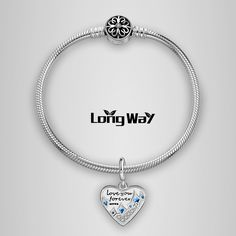 """Long Way """"Love You Forever"""" 925 Sterling Silver Dangle Charms"""