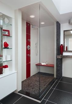 Just the concept - black, white, and grey bathroom with red accents. White Bathroom Decor, Bathroom Red, Grey Bathrooms, Beautiful Bathrooms, Bathroom Interior Design, Small Bathroom, Glitter Bathroom, Bathroom Tiling, Bathroom Accents