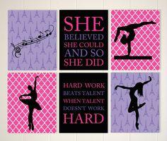 Inspirational girls wall art, ballerina art, dance art, pre teen art, gymnastics wall art,  set of 6, choose your colors and sports