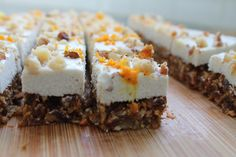 Raw Carrot Cake Bites with Coconut Cream Topping. These bite of spring are gluten-free, vegan, refined sugar-free and paleo. Raw Desserts, Just Desserts, Dessert Recipes, Homemade Desserts, Healthy Desserts, Yummy Recipes, Healthy Recipes, Raw Carrot Cakes, Homemade Coleslaw