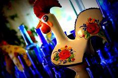 Cobalt Blue Bottles and a Chicken | Flickr - Photo Sharing!