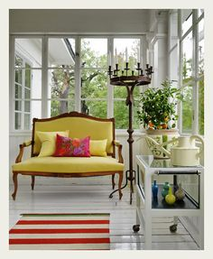An Indian Summer- Sunroom, Back Porch.  Love this pop of color!