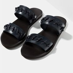 Image 3 of KNOTTED LEATHER SANDALS from Zara