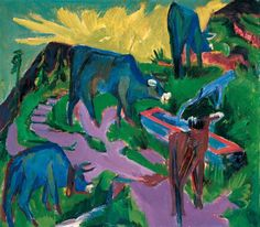 Ernst Ludwig Kirchner, Cows at Sunset (Kühe bei Sonnenuntergang), ca. 1918/1919. Oil on canvas, 70 x 80.5 cm. © Albertina, Wien / Vienna