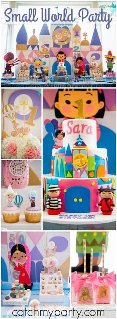 """Its a Small World"" is the theme for this first birthday party! See more party ideas at CatchMyParty.com!"