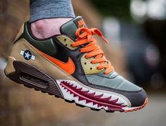 Give 'em hell! swoops into battle in the Nike Air Max 90 'Warhawk' from Sneakers For Sale, Best Sneakers, Custom Sneakers, Sneakers Fashion, Shoes Sneakers, Air Max Sneakers, Nike Air Force 1, Nike Air Max, Air Max 90
