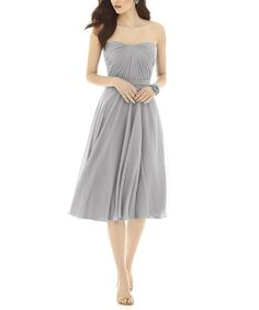 Description Alfred Sung Style D726Cocktail length bridesmaid dressStrapless draped bodice with modified sweetheart necklineBanded waistChiffon Knit