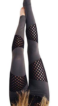 854e15078e7 Nulibenna Women s High Waist Mesh Stretchy Workout Sportys Yoga Leggings ( Large