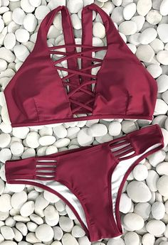 Lace up bikini set,$29.99! Free Shipping! Its the perfect go to bathing suit for style and comfort! It has high quality and super comfy fit. Show off your stunning style in this gorgeous solid color baby!