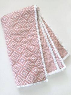 Cozy Modern Baby Girl Whole Cloth Quilt! A darling blanket for your littlest sweetheart! This is an heirloom quality whole cloth quilt in a