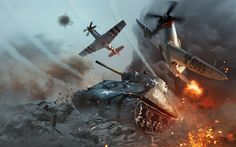 Download wallpapers War Thunder, M4 Sherman, online game, war, American tank, World War II, tank