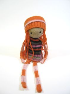 Ragdoll  Handmade simple toy  OOAK doll Pink orange felted wool Upcycled sweaters Eco friendly play Scrap dolly