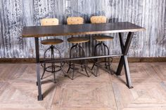 STEEL POSEUR TABLES WITH POLISHED RUSTED IRON EFFECT TOP £795 https://www.peppermillantiques.com/category/restaurant-tables/page/2/
