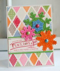 Peace, Love, Joy & COLOR... Handmade Christmas Greeting Card. $6.50, via Etsy.