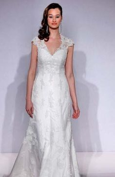 V-Neck A-Line Wedding Dress  with No Waist/Princess Seams in Lace. Bridal Gown Style Number:32436529