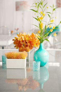 Orange and Turquoise: Bright colors and flowers make you happy. Proven fact.