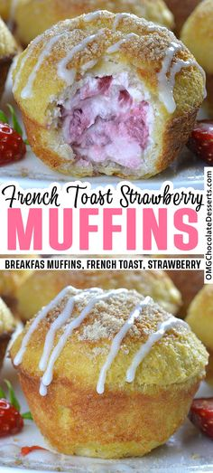Cream Cheese Strawberry French Toast Muffins French Toast Muffins stuffed with lots of fresh strawberries and a lots of cream cheese are both fun to make and even more fun to eat! Perfect breakfast idea for weekend breakfast! French Toast Muffins, Nutella French Toast, Cream Cheese French Toast, French Cheese, Stuffed French Toast, Cream Cheese Muffins, Strawberry French Toast, Strawberry Muffins, Strawberry Breakfast