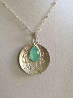 Silver Design Disc and Aquamarine Necklace by joytoyou41 on Etsy