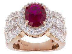 Bella Luce (R) 6.54ctw Ruby & White Diamond Simulants Eterno (Tm) Rose Ring