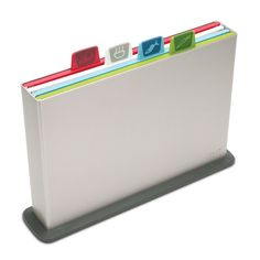 Silver Joseph Joseph Index Plastic Cutting Board Set with 4 Matching Knives