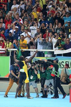 Usain Bolt of Jamaica celebrates winning the gold medal in the men's 100m final…