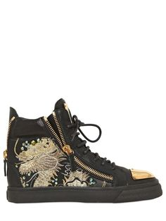 20MM DRAGON EMBROIDERED LEATHER SNEAKERS