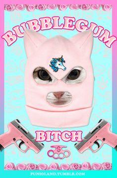 #cat #funny #unicorn #bubblegum #pink #blue #roses #knuckle-duster #balaclava #bitch #lol #welcometotheinternet #pizza #weed #money #meow #crazycatlady #catsonacid