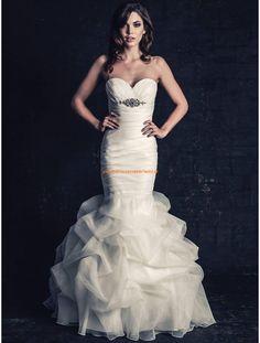 Ella Rosa Meerjungfrau Schöne Elegante Brautkleider aus Organza mit Schleppe