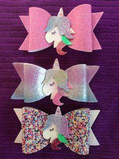 Moños de vinil, glitter, unicornio, grajeas