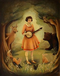 Banjo Recital Print by the black apple on Etsy