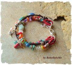 Boho Bracelet Free Spirit Multiple Strand Bracelet Gemstone