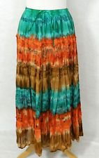 Nwt New THE OM COMPANY Broomstick BOHO Crinkle COTTON Maxi Skirt FREE SIZE