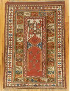 "Milas prayer rug,South West Anatolia,circa 1880.Measurements of the piece:4'.9""x3'.4"" (145x102 cm). 