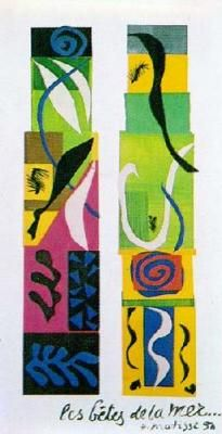 Henri Matisse_Beasts of the Sea.1950. Paper collage on canvas. It is currently in the collection of the National Gallery of Art, Washington, DC. During the early-to-mid-1940s Matisse was in poor health. Eventually by 1950 he stopped painting in favor of his paper cutouts. Beasts of the Sea, is an example of Matisse's final body of works known as the cutouts