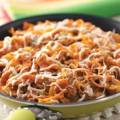 Pepperoni Pizza Skillet Recipe | Taste of Home Recipes.......On hectic school nights, no household can have too many hearty, 30-minute meals the whole family asks for. This creamy, flavor-packed skillet supper is sure to be one of those—again and again! —Anna Miller, Quaker City, Ohio