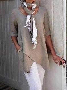 Half Sleeve Irregular Plus Size Blouses Asymmetrical Hem Shirt - moda Half Sleeves, Types Of Sleeves, Vetement Hippie Chic, Sexy Bluse, Boho Fashion, Womens Fashion, Style Fashion, Beach Fashion, Plus Size Blouses