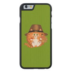 Bauble Cat Thanksgiving Carved® Maple iPhone 6 Slim Case