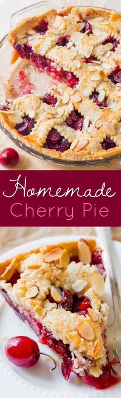 Homemade Cherry Pie Dessert Recipe via Sally's Baking Addiction - Here's how to make a classic fresh cherry pie completely from scratch. Add a little sprinkle of toasted almonds to amp up the flavor! - Favorite EASY Pies Recipes - Brunch Dessert No-Bake + Bake Musts